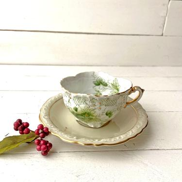 Vintage German Bavaria Green Floral Teacup And Saucer   Rustic, Farmhouse, Cottagecore, Cottage Chic Teacup, Tea Lover, Perfect Gift by CuriouslyCuratedShop