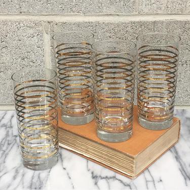 Vintage Highballs 1960s Retro Mid Century Modern + Striped Print + Drinking Glasses + Cylinder Shape + Set of 4 Matching + Kitchen + Barware by RetrospectVintage215