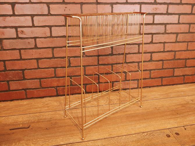 Mid Century Brass Record Rack/Stand/Caddy by RedsRustyRelics