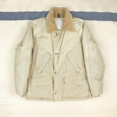 Size Large Vintage 1970s LL Bean Beige Down Nylon Mackinaw Coat by BriarVintage