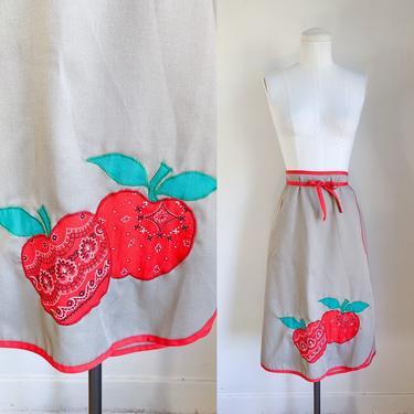 Vintage 1970s Apple Applique Wrap Skirt / M by MsTips