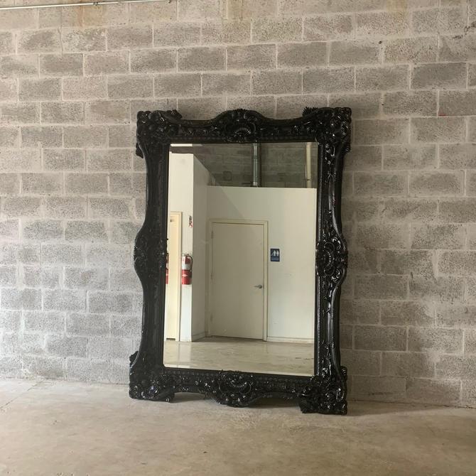 "French Mirror Black Lacquer *1 Left in Stock* Interior Design Baroque Mirror French Furniture 5.5""FT x 7.5""FT Rococo Black Mirror Vintage by SittinPrettyByMyleen"