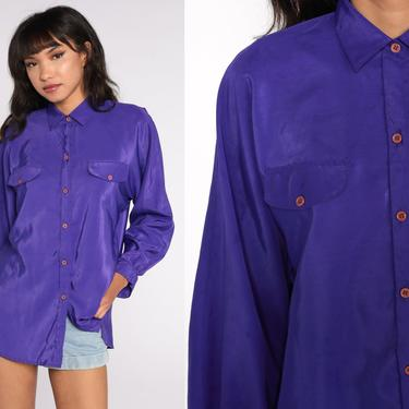 Purple Satin Blouse Long Sleeve Top 90s Shirt Silky Button Up Collared Shirt 1990s Extra Large xl by ShopExile
