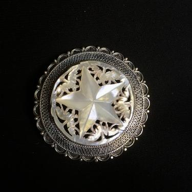 Vintage Sterling Silver Brooch or Pendant with MOP Star, Beautiful Victorian Style by BellewoodDesignGoods