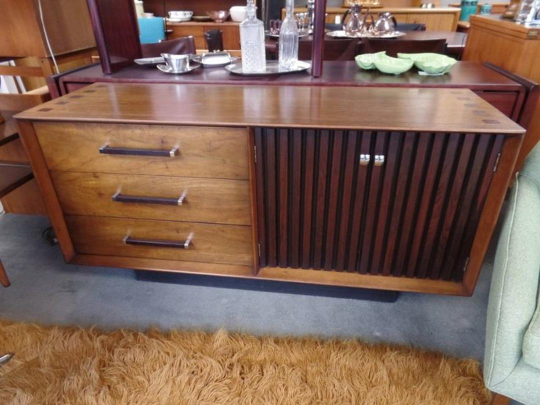 Mid Century Modern Walnut And Rosewood Credenza From The