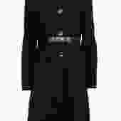 Cinzia Rocca - Black Wool Overcoat w/ Leather Trim Sz 10