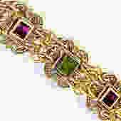 Mary Demarco Brass and Glass Bracelet by LegendaryBeast
