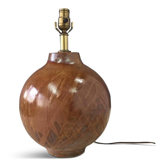 Design Technics Large Bulb Shaped Splatter Glazed Ceramic Table Lamp
