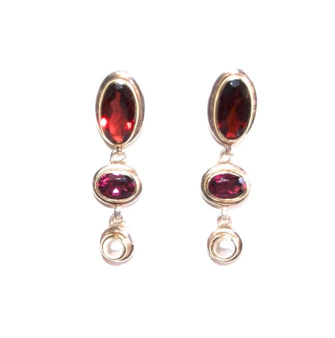 Dangle Earrings Pearl Ruby Garnet Vintage Victorian Style Amethyst Garnet Pearl Drop Earrings Boho Jewelry by Curiopolis