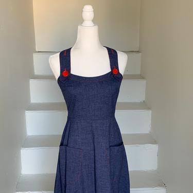 1970s Denim Overall Style Maxi Dress 34 Bust Summer Maxi by AmalgamatedShop