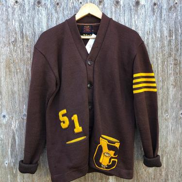 1950s Heavy Wool Varsity Letterman Cardigan Sweater- size M by VeeVintageShop