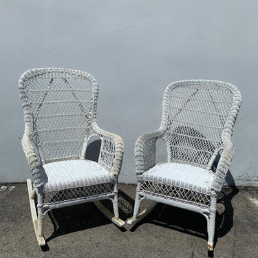 Pair of Rocking Chairs Antique Woven Wicker Rocker Armchair Glider Seating Rattan Shabby Chic Coastal Country Nursery Outdoor Boho Chic by DejaVuDecors