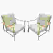 Custom Beige Oak & Ivory Sheepskin Mid-Century Style Armchairs