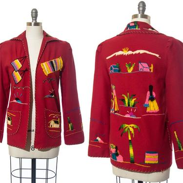Vintage 1950s Jacket | 50s Mexican Embroidered Novelty Print Red Wool Tourist Souvenir Coat (xs/small/medium) by BirthdayLifeVintage