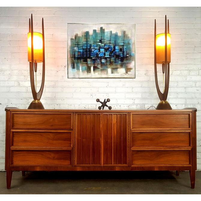 Jaw Dropping Curved Walnut MCM LONG Credenza Dress