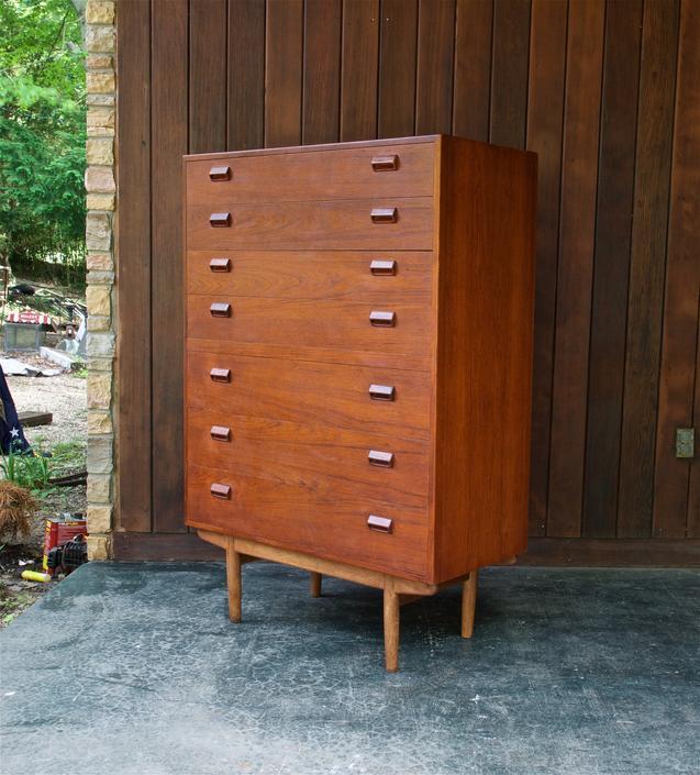 Vintage 1950s Danish Teak Highboy Tall Dresser Bachelor Scandinavian Furniture Bedroom Cabinet Chalet Rustic Cabinmodern by BrainWashington