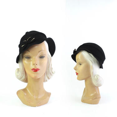 1930s Womens Black Fedora - 1930s Womens Fedora - Vintage Black Fedora - 30s Fedora - 1930s Womens Black Hat - 1930s Black Hat by VeraciousVintageCo