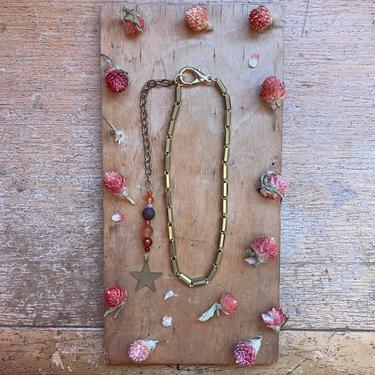 Handmade Carnelian Choker Necklace Gold Star Celestial Jewelry by LoveItShop