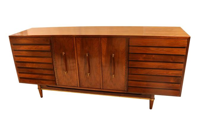 Mid Century Modern American of Martinsville Dania Collection Louvered Walnut Credenza by Marykaysfurniture