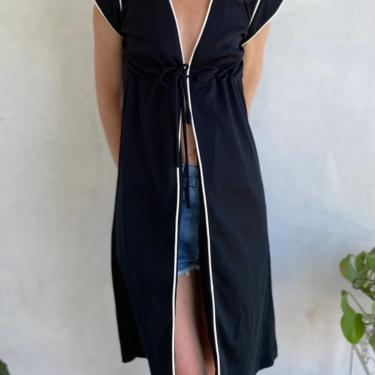 70s Vintage Black & White Sleeveless Kimono / Duster - 1970s Festival Tie front Top / Vest - XS Small by LittleSparkVintage