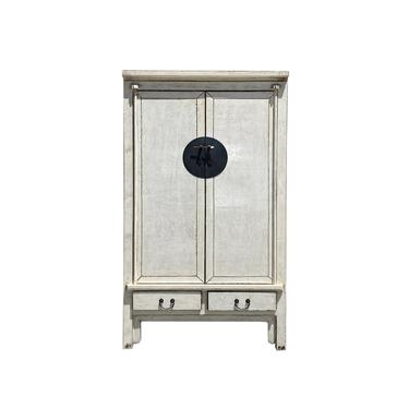 Chinese Distressed Off White Tall Wedding Armoire Wardrobe TV Cabinet cs6112E by GoldenLotusAntiques