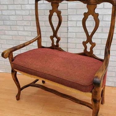 Vintage Italian Rustic Walnut Rush Seat Settee Bench