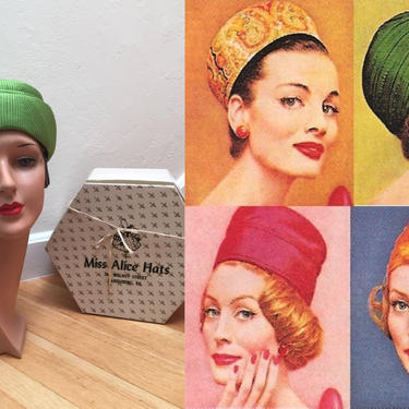 She Was the Top - Vintage 1950s 1960s Lime Chartreuse Green Satin Bow Pill Box Hat w/Hat Box by RoadsLessTravelled2