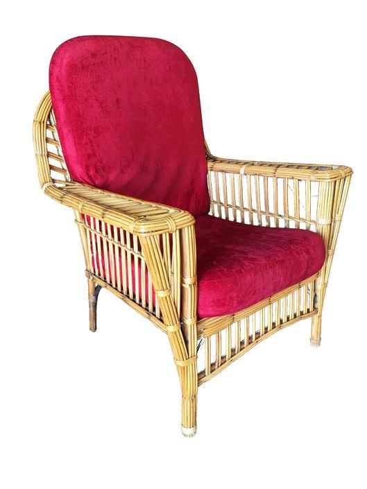 "Restored ""President's"" Art Deco Stick Rattan Lounge Chair w/ Tapered Legs by HarveysonBeverly"