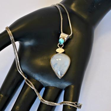 70's sterling blue flash moonstone blue tourmaline mystic hippie pendant, striking teardrop gemstones in 925 silver bling statement necklace by BetseysBeauties