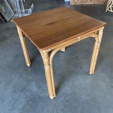 """Restored """"Arch"""" Base Rattan Games Table with Mahogany Top by HarveysonBeverly"""