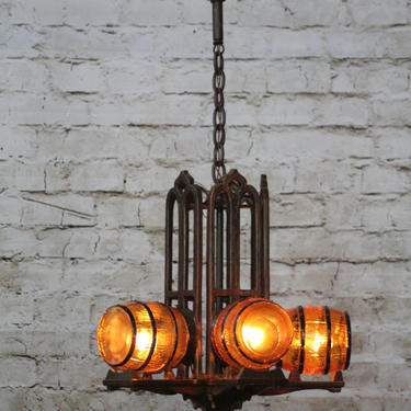 Gill Glass Tavern Chandelier from 1930s  Bar Restaurant Tap Room by vintagefilament