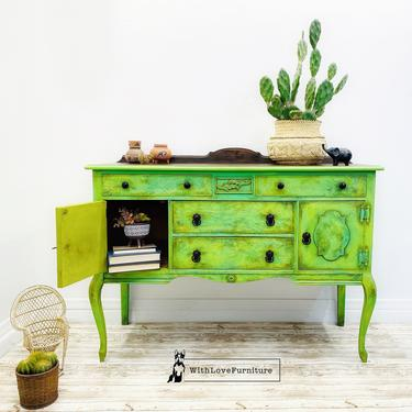 Boho Rustic Sideboard. Vintage Painted Buffet. Green Yellow Refinished Credenza Server. Eclectic Media Console. Whimsical Entryway Table by withlovefurniture10