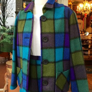 Fabulous 60's~ color block ~ woolen plaid 2pc skirt and jacket~ Mad Men ~ mid century~size M/LG by HattiesVintagePDX