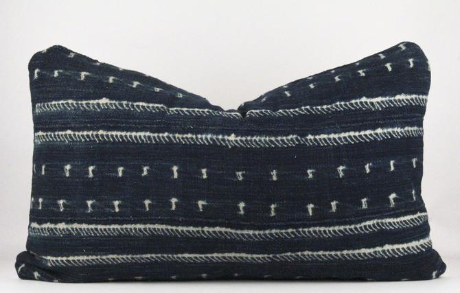 Acoustic in Blue Mudcloth Pillow  Medium Lumbar