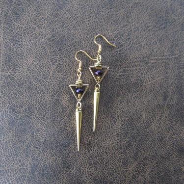 Minimalist brass earrings purple hematite, spike, mid century modern earrings, Brutalist earrings, bold statement earrings, geometric unique by Afrocasian