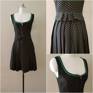 1960's 2pc Wool Dirndl Dress Set with Skirt and Vest 60's Costume Dress 60s Oktoberfest Women's Vintage Size Small/Medium by HeySailorNiceVintage