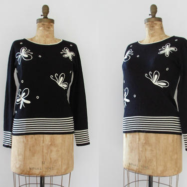 SOCIAL BUTTERFLY Vintage 70s Sweater, 1970s Black w/ White Embroidery Acrylic Knit Pullover Top, Bug & Stripe Embroidered Blouse | Sz Medium by lovestreetsf