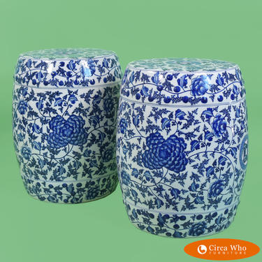 Pair of Floral Chinoiserie Garden Seats
