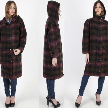 Vintage 80s Woolrich Plaid Coat Purple Long Hooded Duster Jacket Dark Checkered Lined Winter Parka Pockets Deep Hood Jacket by americanarchive
