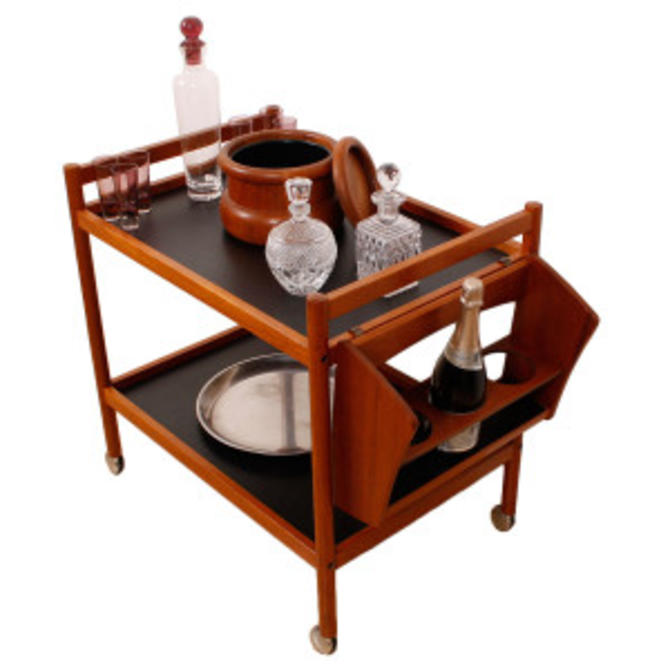 Danish Modern Teak Bar Cart with Wine Rack