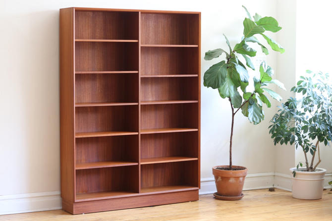 Mid Century Danish Modern Tall Teak Bookshelf by SharkGravy