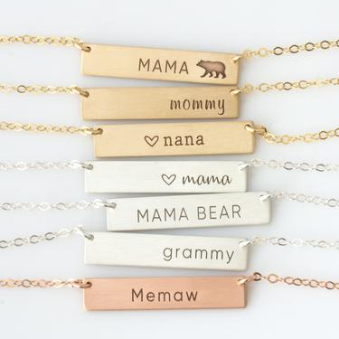 Gold or Silver Name Bar - Personalized Name Plate - Personalized Name Necklace - Gift for Her - New Mom Necklace - LEILAjewelryshop by LEILAjewelryshop