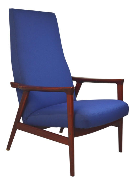 Blue Danish Modern Lounge Chair by RetroPassion21