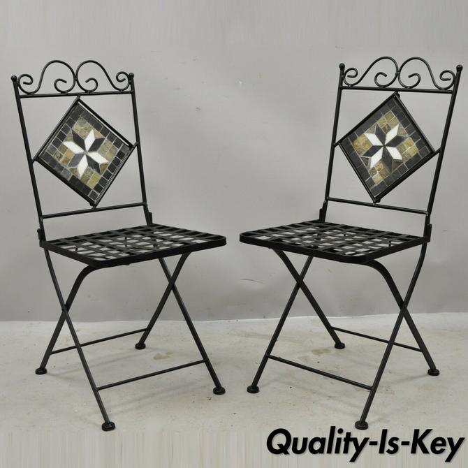 Spanish Mediterranean Wrought Iron Folding Bistro Dining Chair Mosaic Inlay Pair