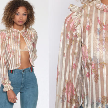 Sheer Floral Blouse 70s Open Front Shirt Boho Long Sleeve Jacket White Floral Print 1970s Bohemian Ruffle Shirt Top Vintage Small Medium by ShopExile