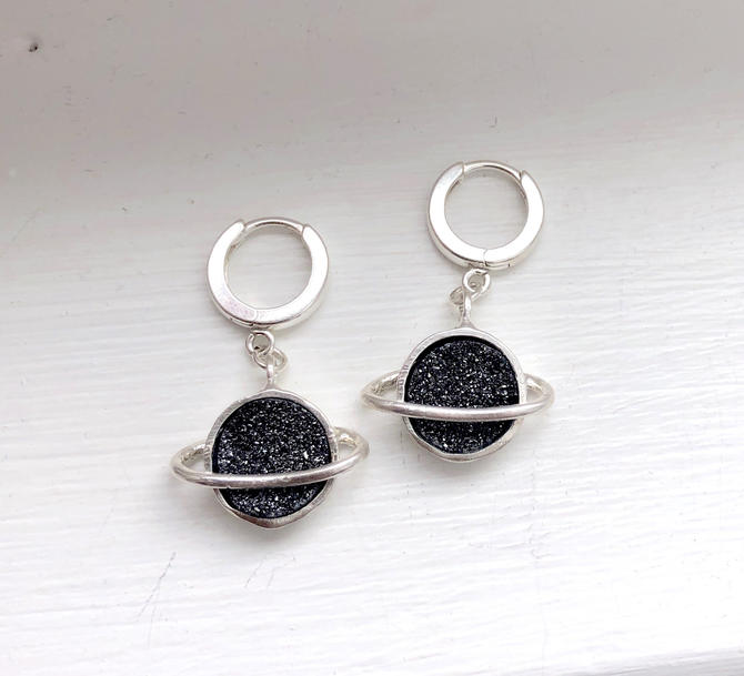 Black Druzy / Drusy Saturn Hoop Dangles in Sterling Silver The Cosmos Earring Collection Outer Space by RachelPfefferDesigns