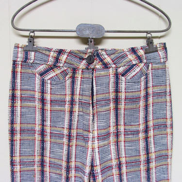 Vintage 1960s Mod Plaid Pants, 60s High-Waisted Hipster Pants, Saks 5th Avenue Young Dimensions, Small 27 Inch Waist by RanchQueenVintage