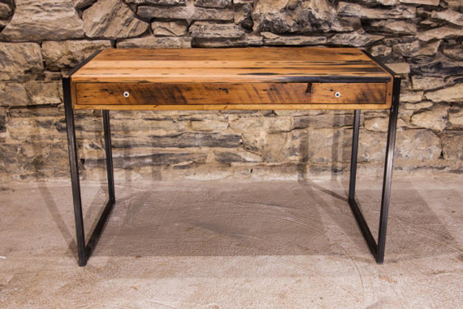 La Bohème Designer Metal And Reclaimed Wood Writing Desk With Drawer By Barnwoodfurniture