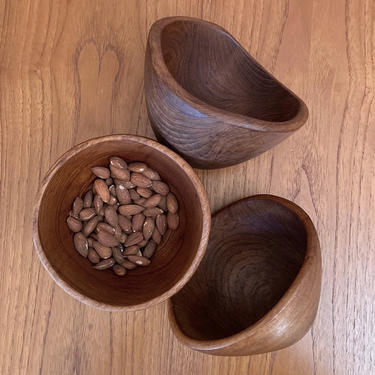 vintage teak wood snack bowl small serving bowl - made in thailand by ionesAttic