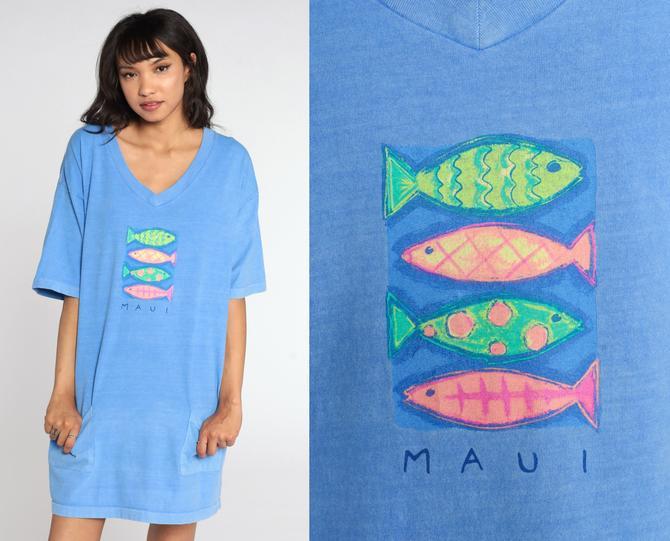 Maui Hawaii Dress Fish TShirt Dress 90s TROPICAL Fish Print Night Shirt Sleep Mini Graphic Hipster Retro Beach Dress Small Medium Large by ShopExile